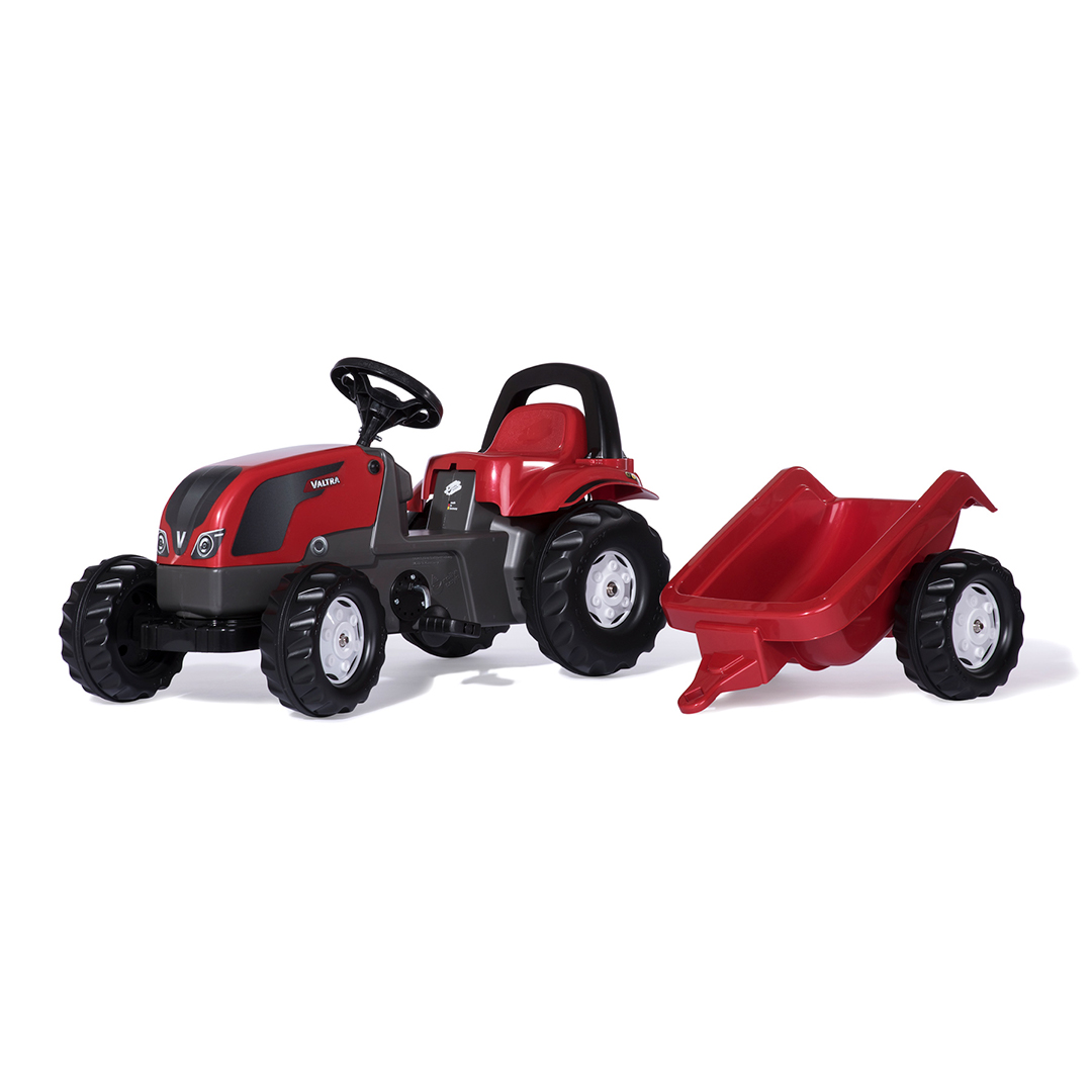 Tractor de Pedales rollyKid Valtra con remolque