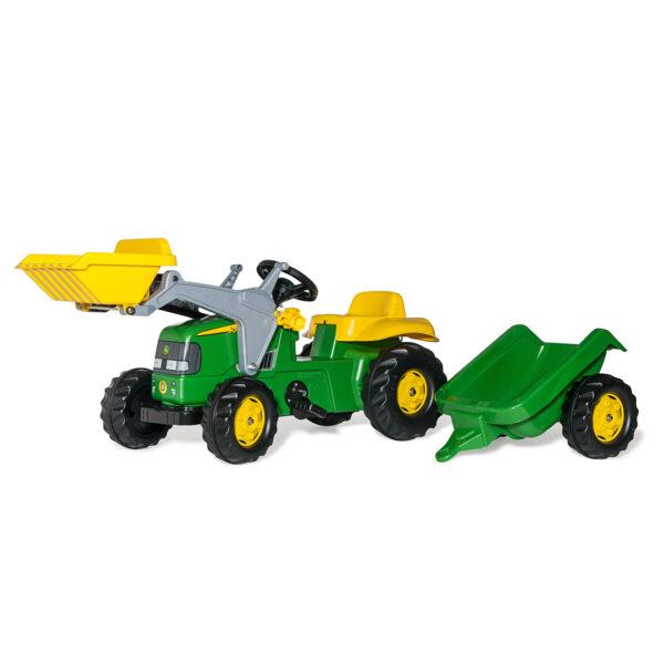 Tractor de pedales rollyKid John Deere con pala y remolque