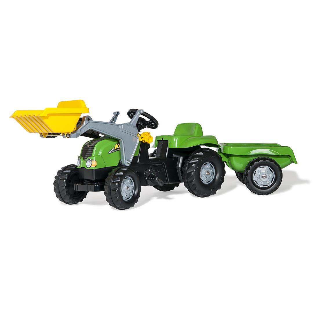 Tractor de Pedales rollyKid-X Verde con remolque y pala