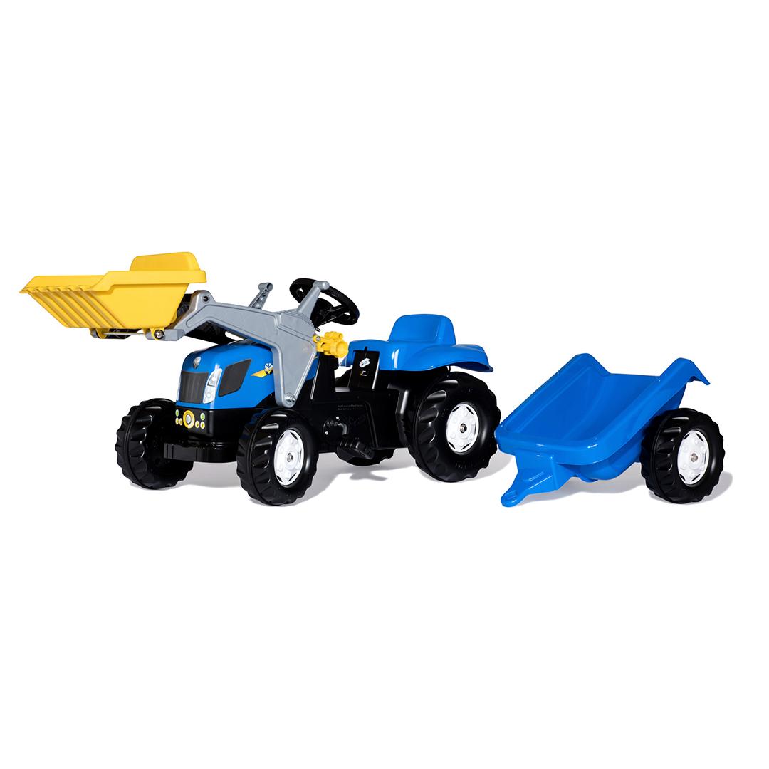 Tractor de Pedales rollyKid New Holland T7040 con pala y remolque