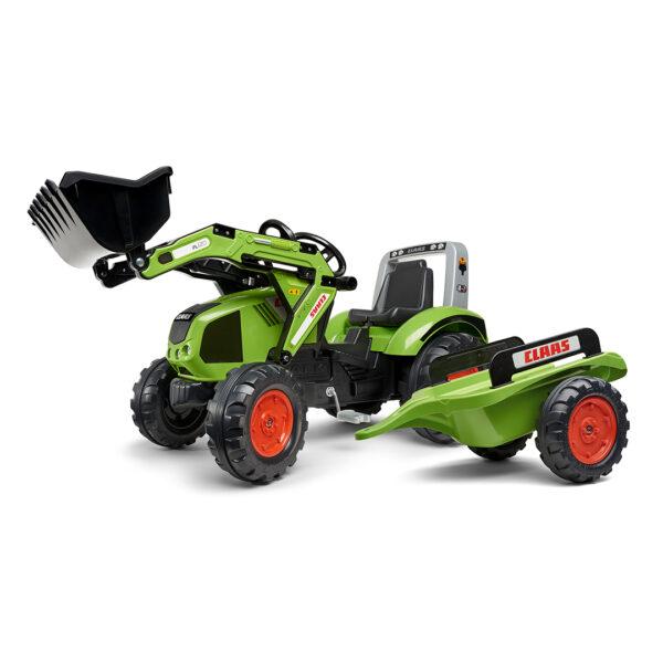 Tractor de pedales Claas Arion 330 con pala y remolque