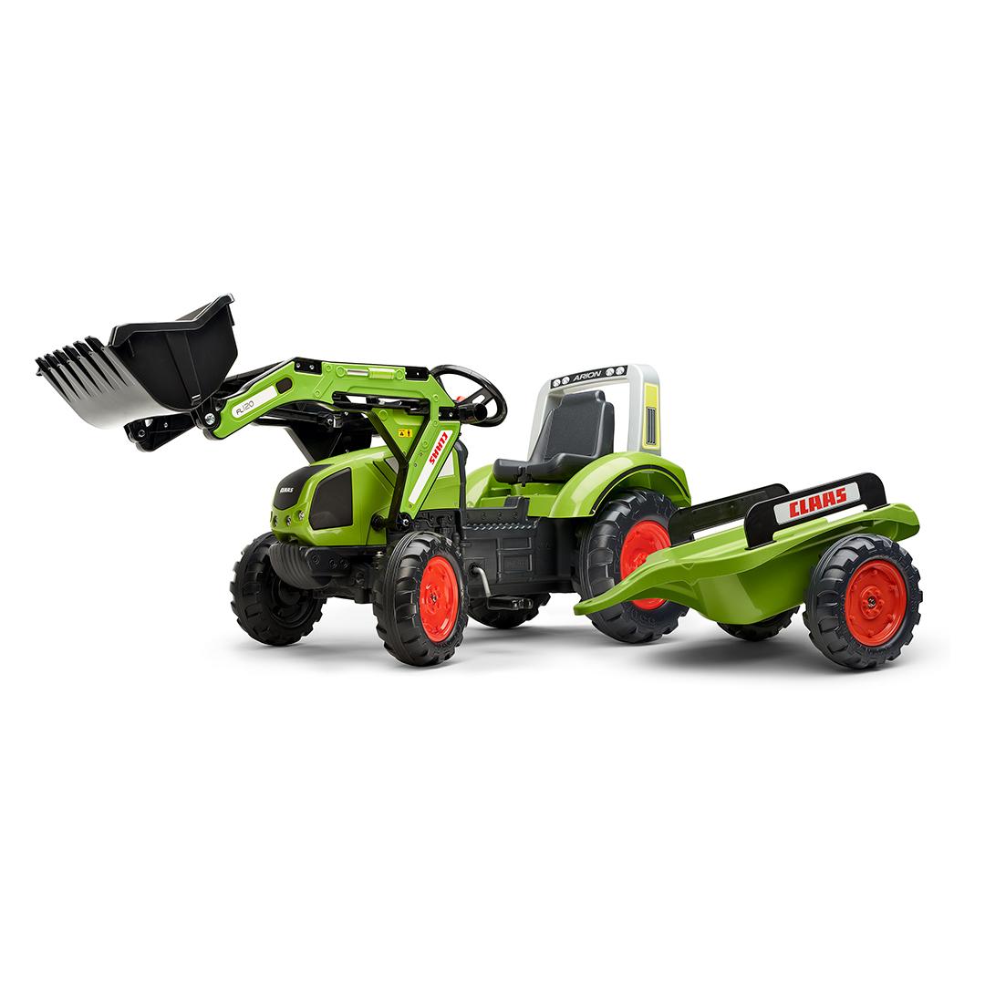 Tractor de pedales Claas Arion 430 con pala y remolque