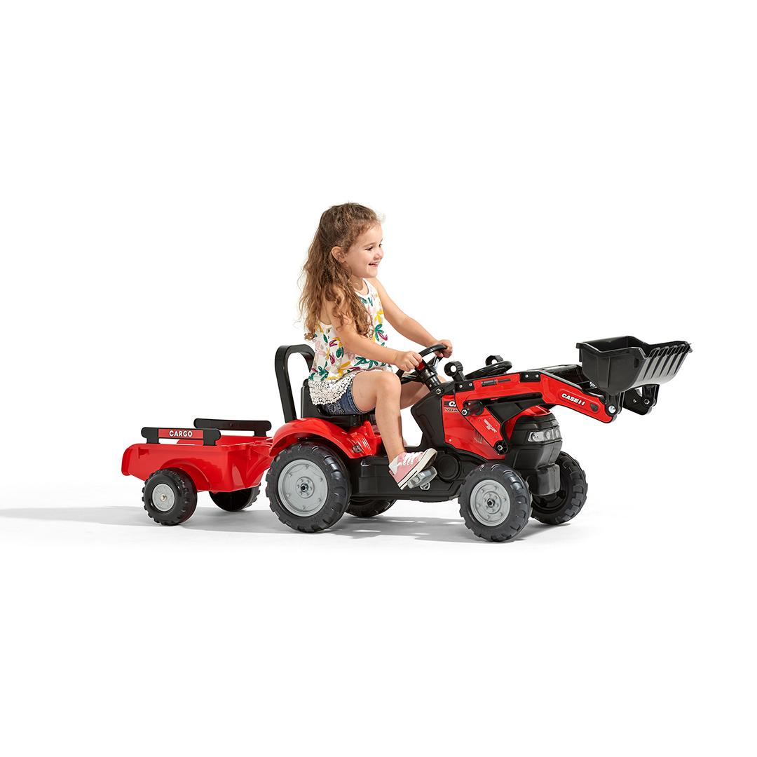 Tractor de pedales Case IH Maxxum 130 CVX con pala y remolque