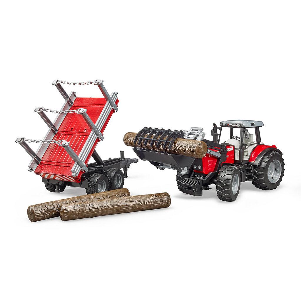 Tractor Massey Ferguson 7480 con pala frontal y remolque - Ref. Bruder 2046 - 1