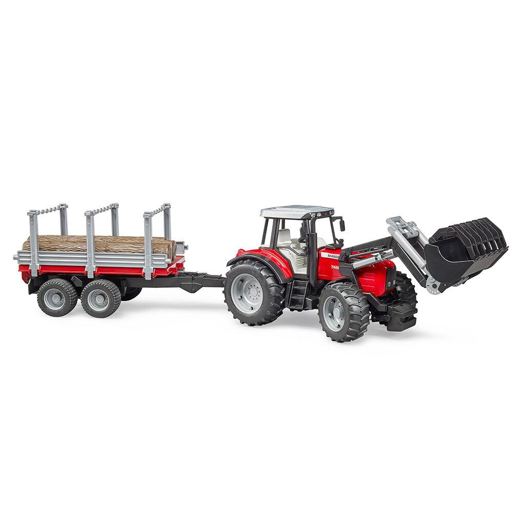 Tractor Massey Ferguson 7480 con pala frontal y remolque - Ref. Bruder 2046