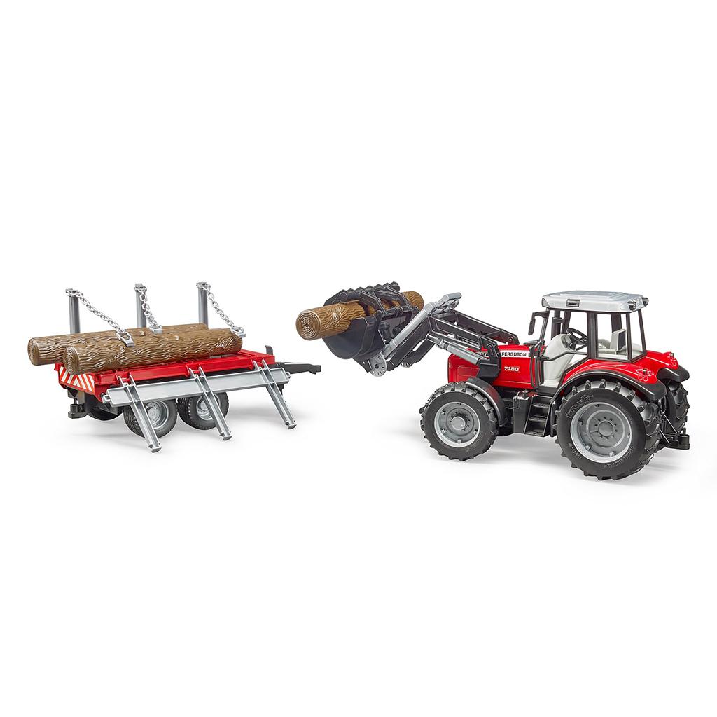 Tractor Massey Ferguson 7480 con pala frontal y remolque - Ref. Bruder 2046 - 2