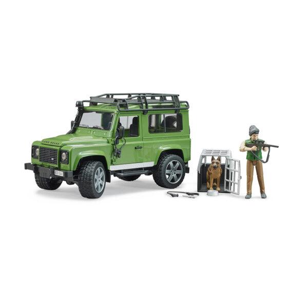 Todoterreno Land Rover Defender con forestal y perro - Ref. Bruder 2587