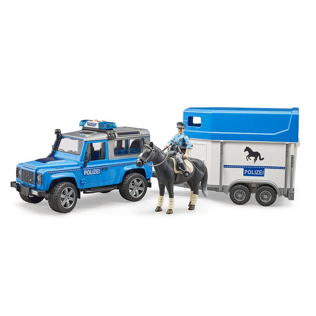 Todoterreno Land Rover policía con remolque equino  - Ref. Bruder 2588