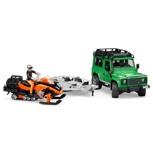 Todoterreno Land Rover Defender con Remolque y Moto de Nieve – Ref. Bruder 2594