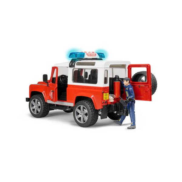 Todoterreno Land Rover Defender de Bomberos con Figura – Ref. Bruder 2596