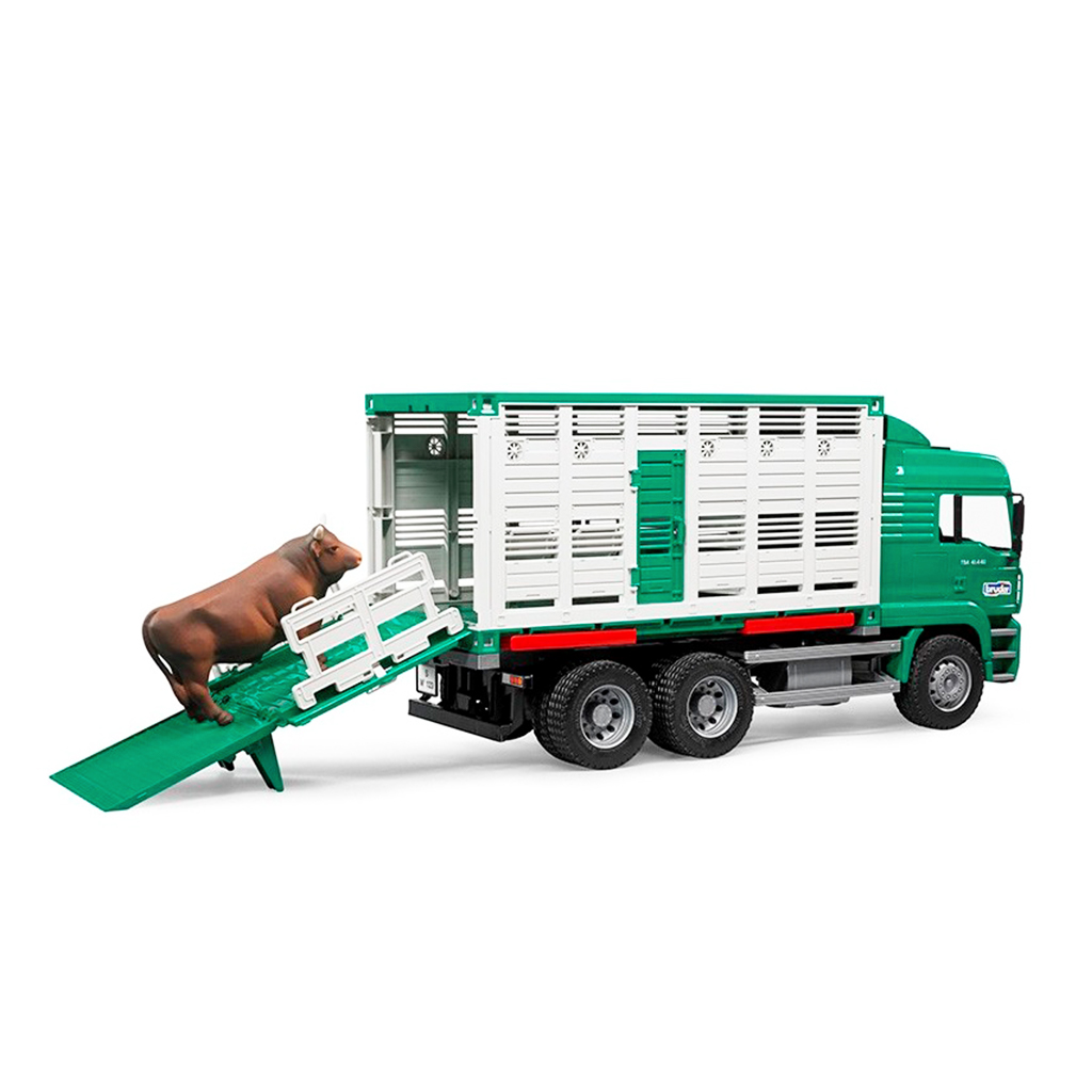 Camión de Ganado Verde MAN con buey – Ref. Bruder 2749