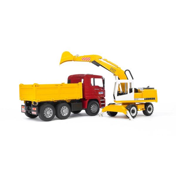 Camión de obra MAN con excavadora Liebherr – Ref. Bruder 2751