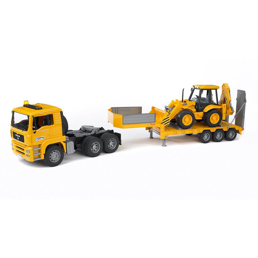 Camión góndola MAN con excavadora JCB 4CX – Ref. Bruder 2776 - 1