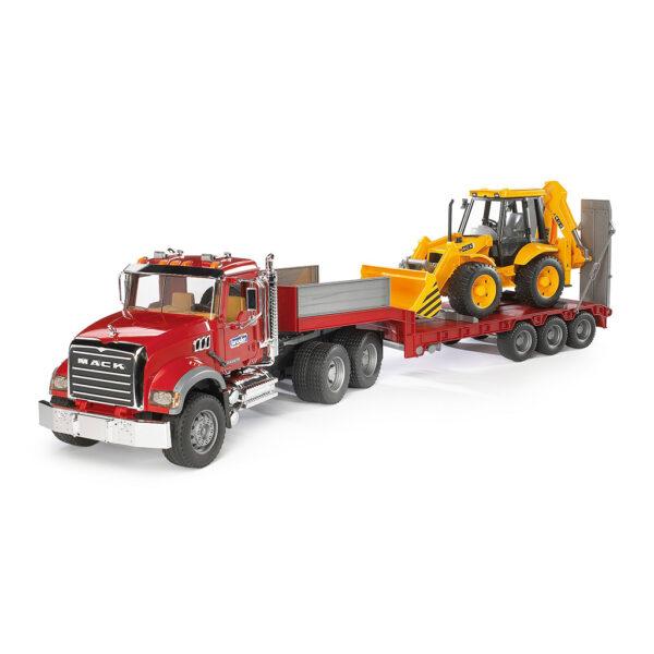Camión Góndola Mack Granite con excavadora JCB 4CX – Ref. Bruder 2813 - 1