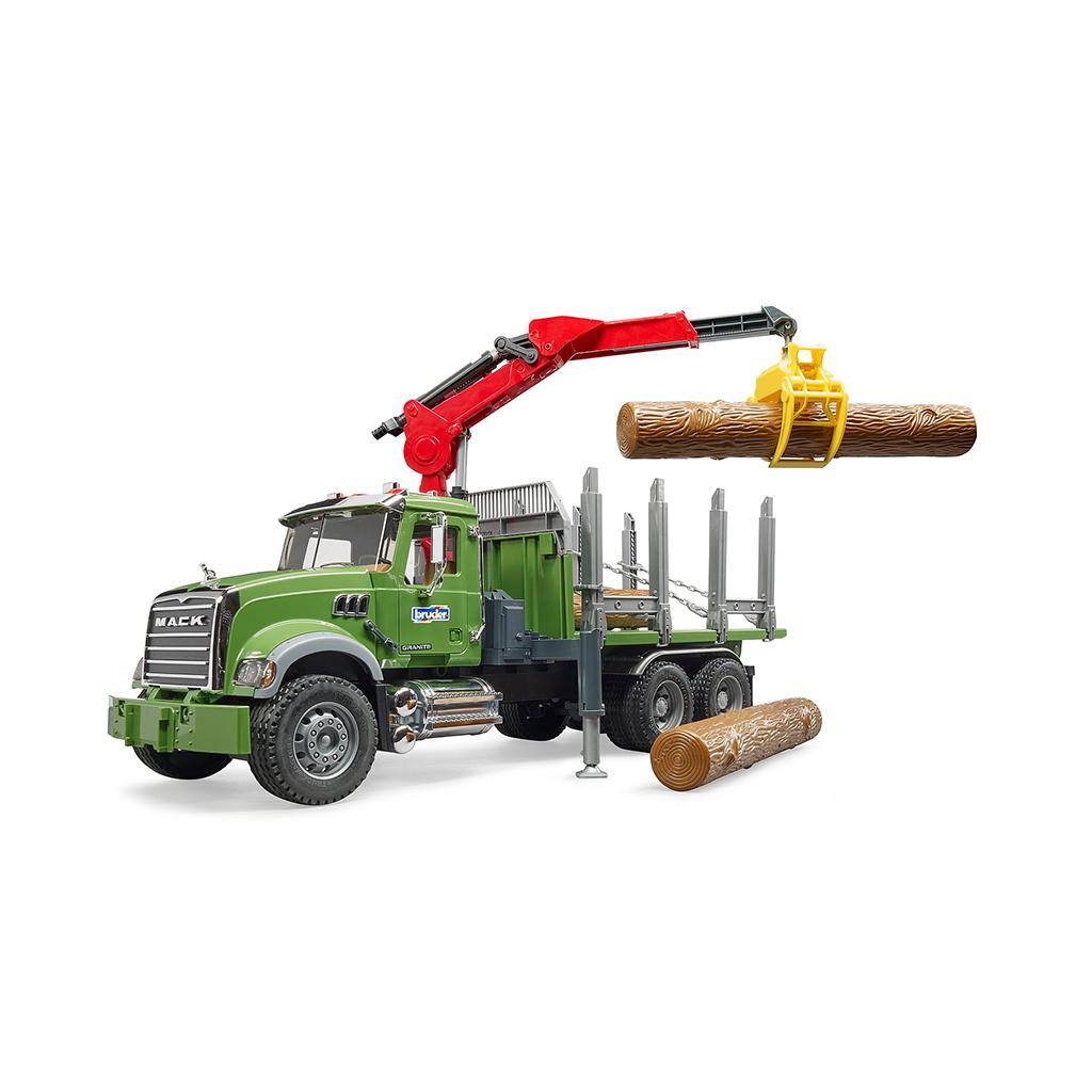 Camión Forestal Mack con Grua y Troncos – Ref. Bruder 2824