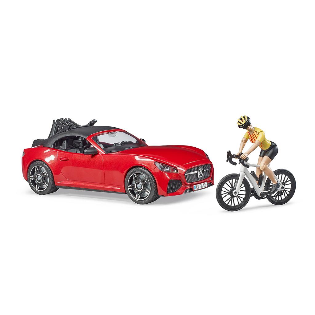Coche Roadster Descapotable Con Bicicleta de Carreras Y Ciclista – Ref. Bruder 3485 - 1