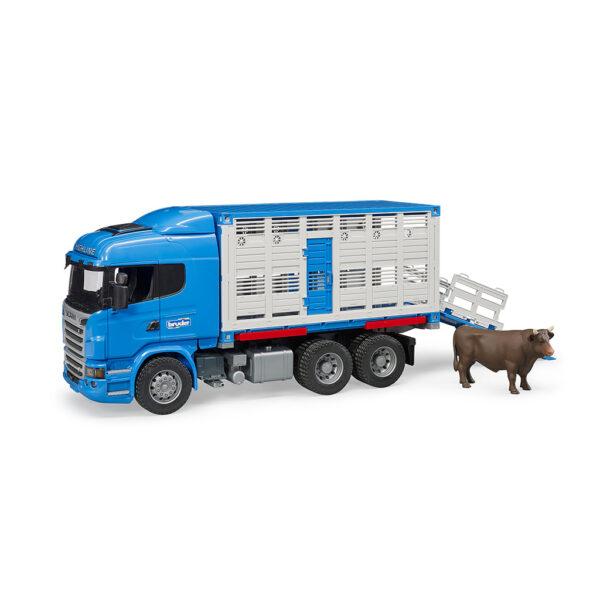 Camión de Ganado Azul Scania R-Serie LKW con buey – Ref. Bruder 3549 - 1