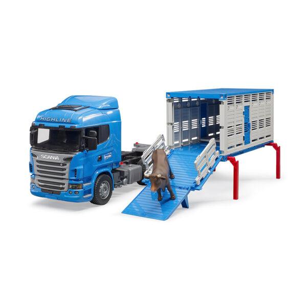 Camión de Ganado Azul Scania R-Serie LKW con buey – Ref. Bruder 3549