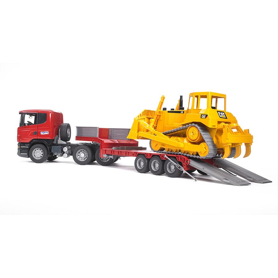 Camión Góndola Scania con Bulldozer Caterpillar – Ref. Bruder 3555
