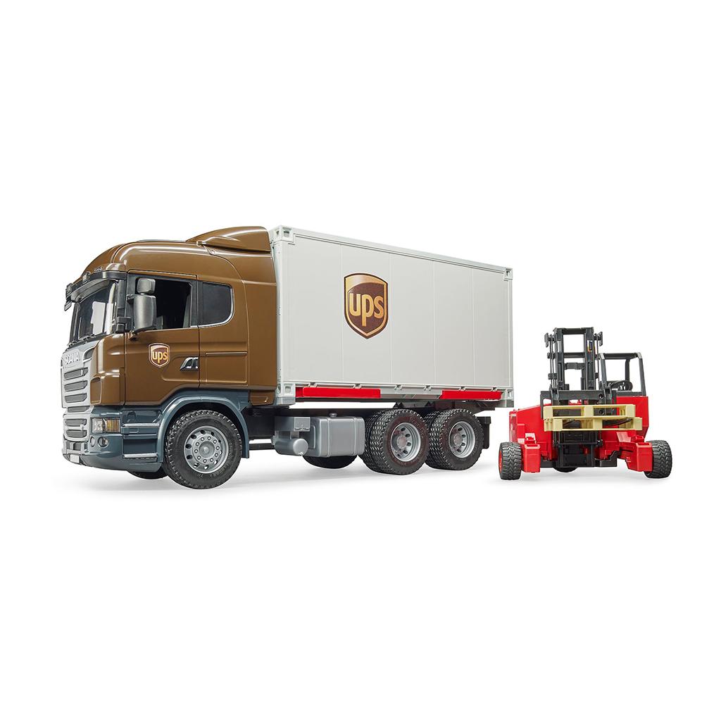 Camión de Reparto UPS Scania R-Serie LKW con Carretilla Elevadora – Ref. Bruder 3581 - 1