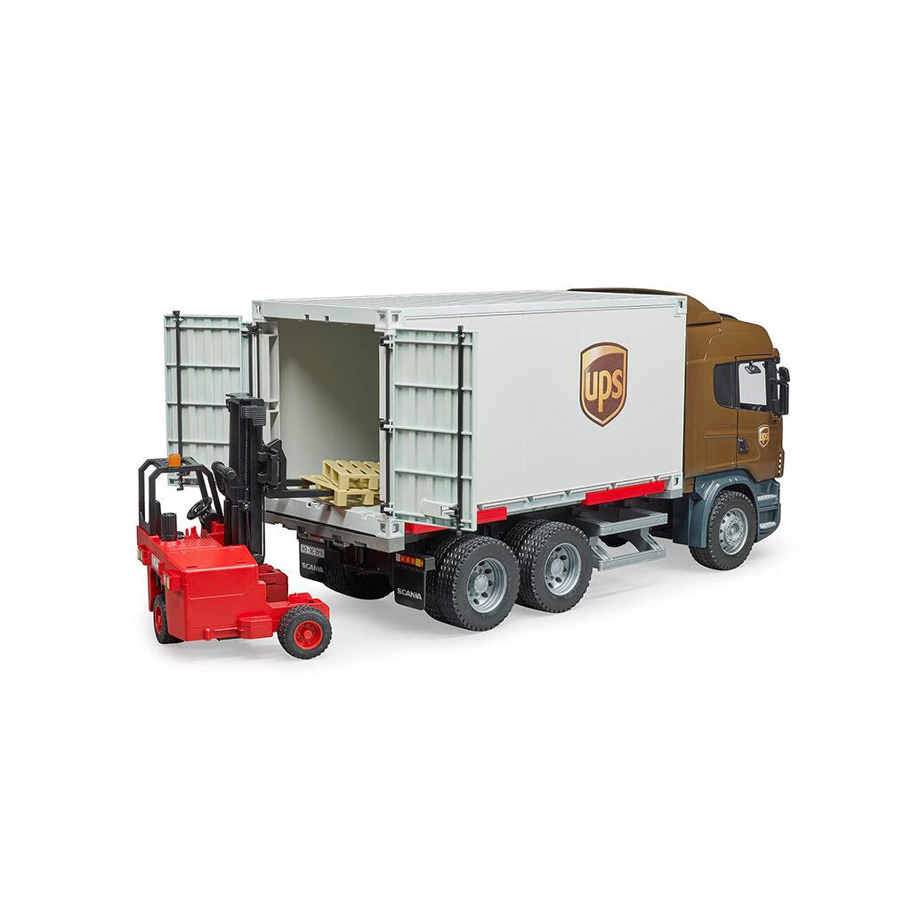 Camión de Reparto UPS Scania R-Serie LKW con Carretilla Elevadora – Ref. Bruder 3581