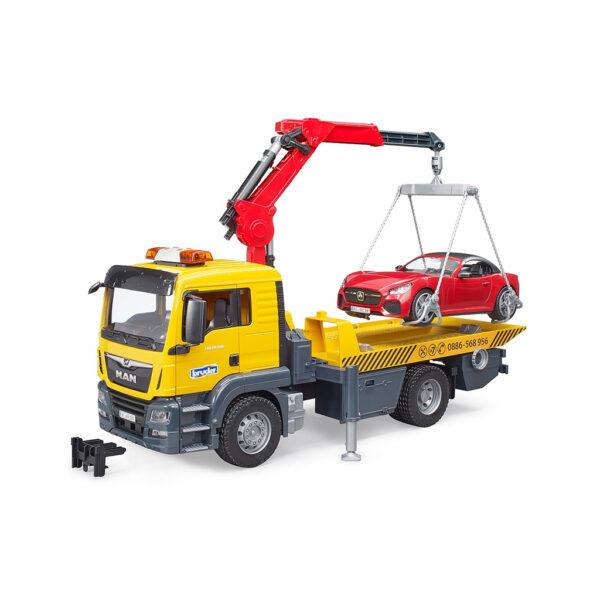 Camión-Grúa MAN TGS con Coche Roadster y Módulo de Sirena – Ref. Bruder 3750
