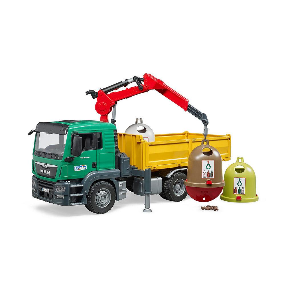 Camión Grúa de Reciclaje MAN TGS LKW con Contenedores – Ref. Bruder 3753