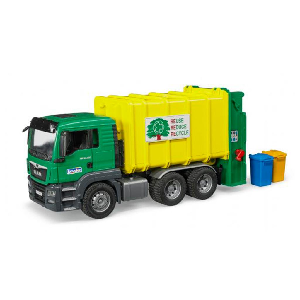 Camión de Basura MAN TGS Verde Carga Trasera – Ref. Bruder 3764