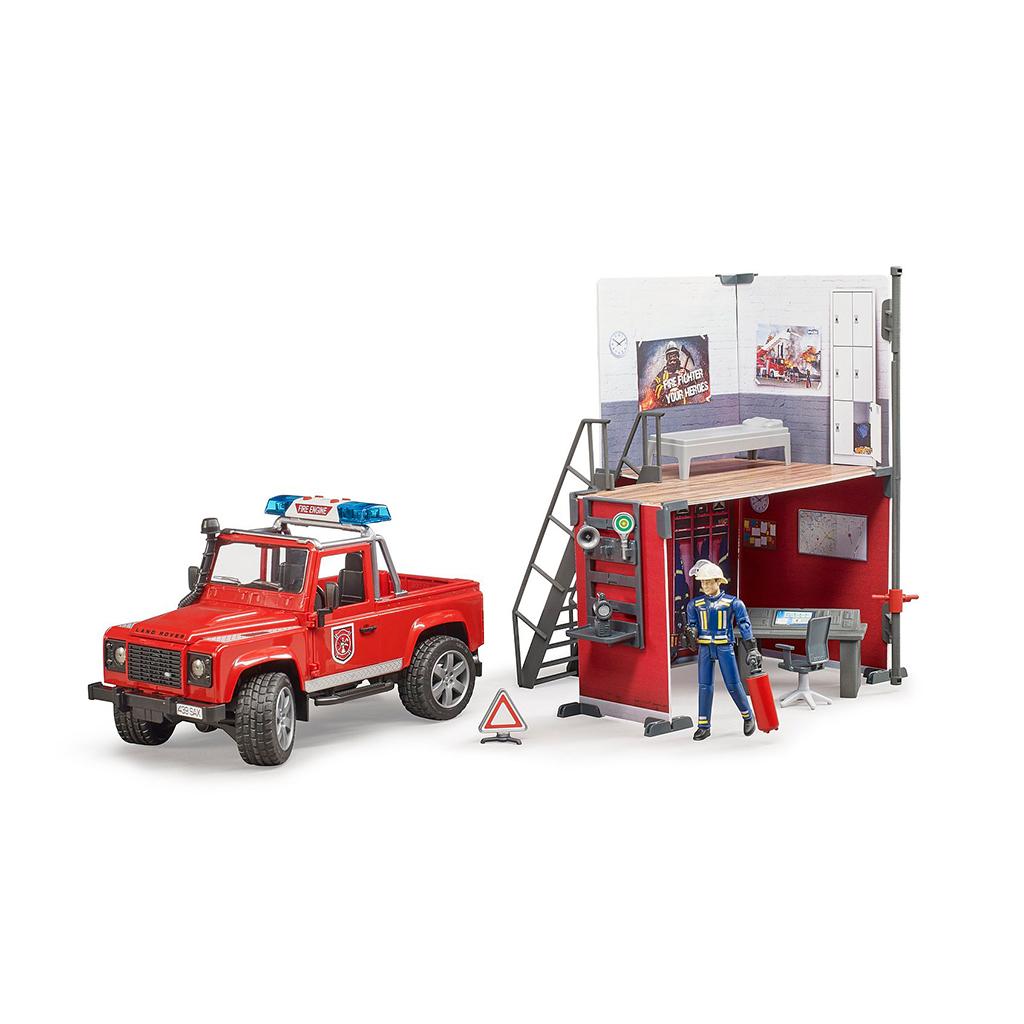 Parque de Bomberos con Land Rover y Bombero – Ref. Bruder 62701 - 1