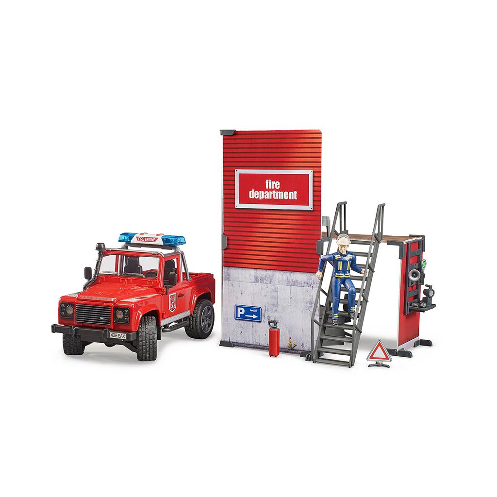 Parque de Bomberos con Land Rover y Bombero – Ref. Bruder 62701