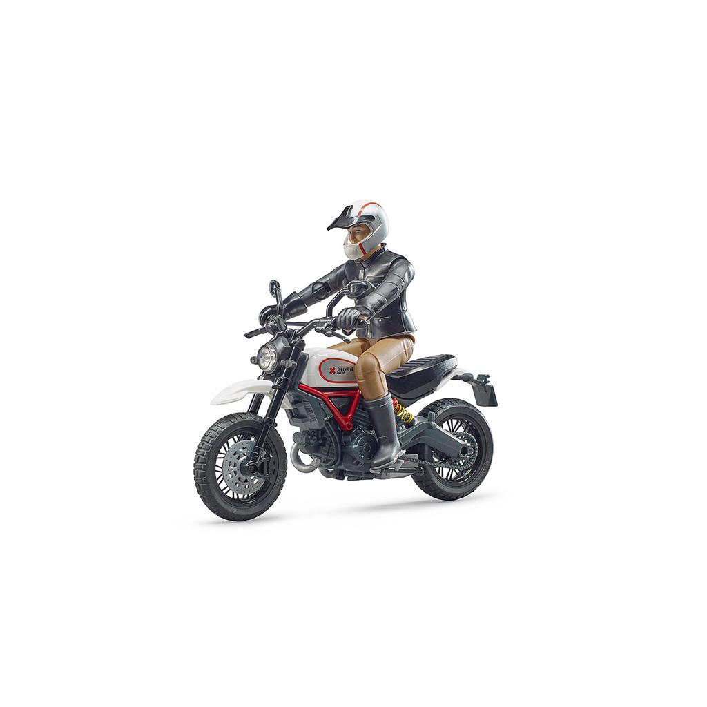 Moto Scrambler Ducati Desert Sled con Piloto – Ref. Bruder 63051