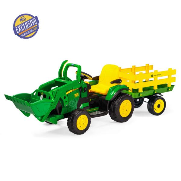 Tractor Eléctrico con Pala y Remolque John Deere Ground Loader 12V · Peg Perego