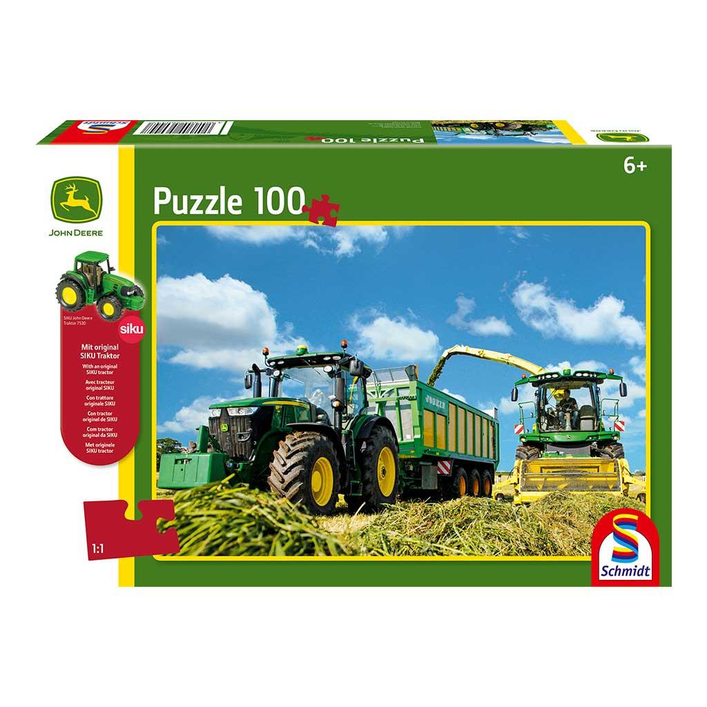 Puzzle de Tractor John Deere 7310R y Cosechadora 8600i con Tractor Siku