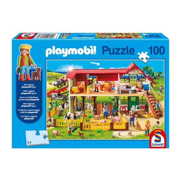 Puzzle Granja Playmobil y Figura
