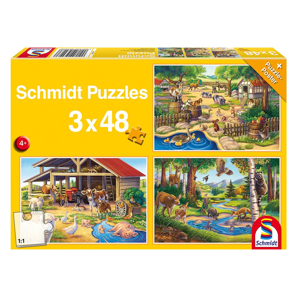 Puzzles Mis Animales Favoritos 3x48