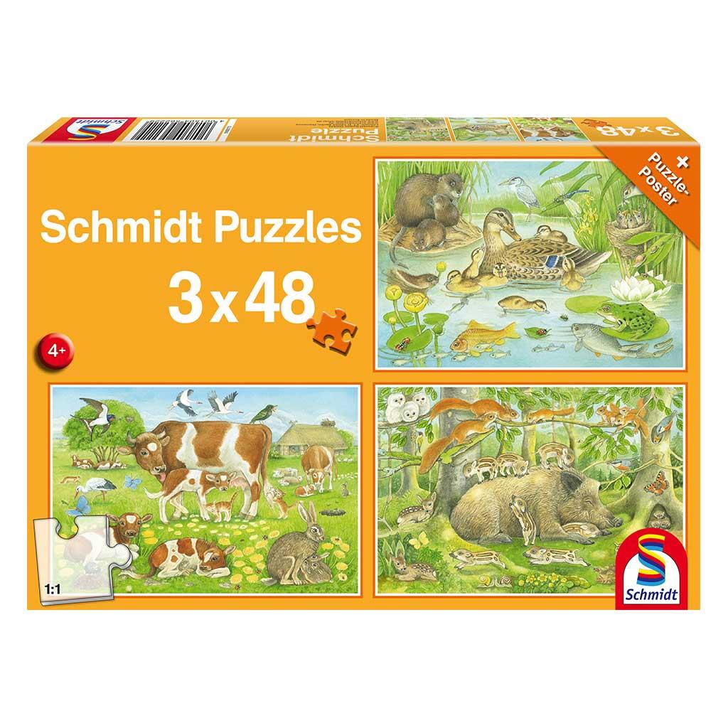 Puzzles La Familia de los Animales 3x48