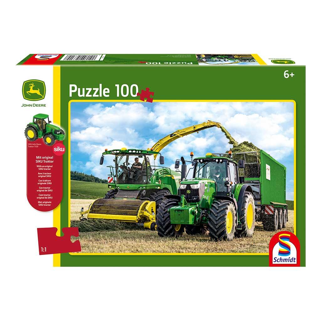 Puzzle de Tractor John Deere 6195M con Tractor Siku