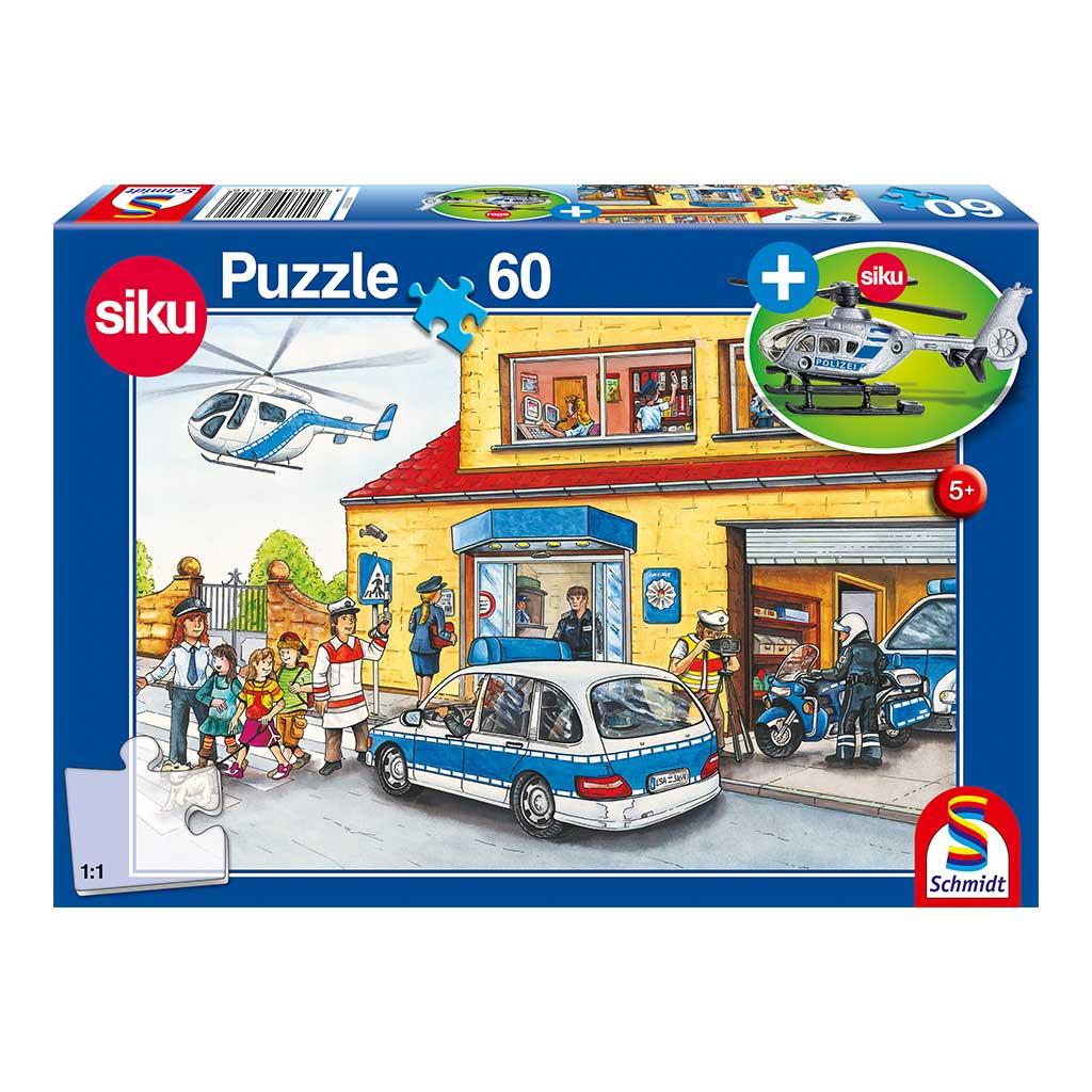 Puzzle Policia en la Ciudad con Helicóptero Siku