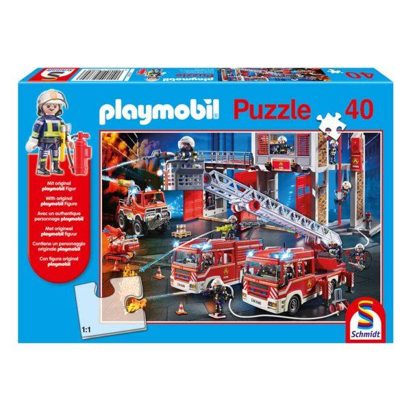 Puzzle Playmobil Bomberos al Rescate y Figura