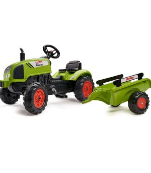 Tractor de pedales Claas Arion con remolque