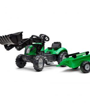Tractor de pedales verde con pala y remolque